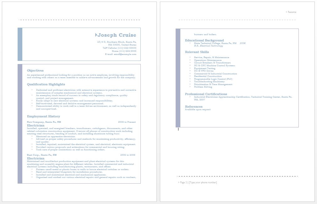 Electrician Resume – Sample Resumes