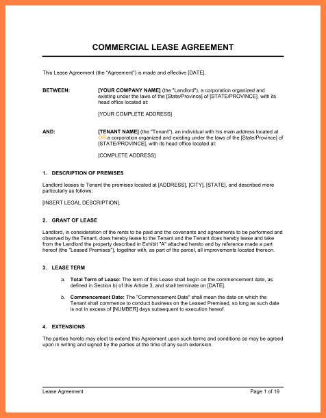 13+ commercial lease agreement template word | Purchase Agreement ...