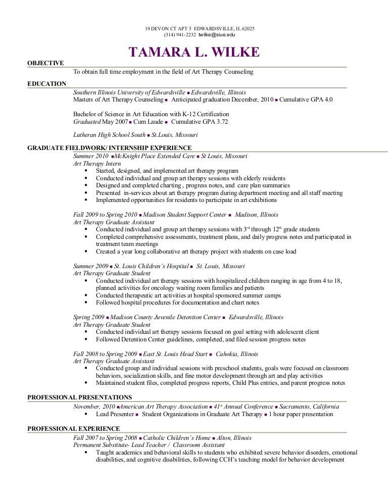 art therapist resume] tamara wilke resume 2010, art therapist, Presentation templates