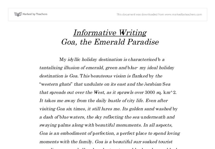 Example Informative Essay | haadyaooverbayresort.com