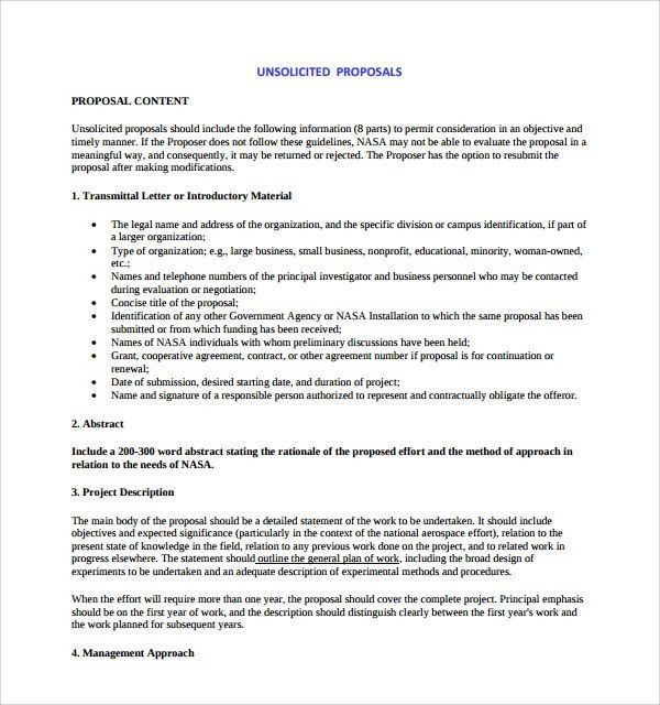 Sample Unsolicited Proposal Template - 7+ Free Documents in PDF, Word