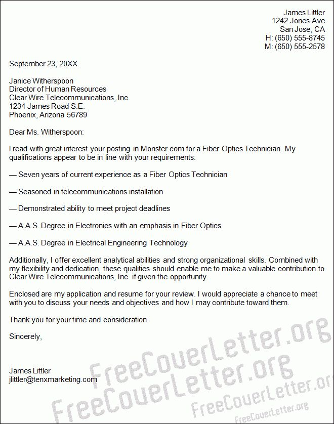 Optics Technician Cover Letter Sample