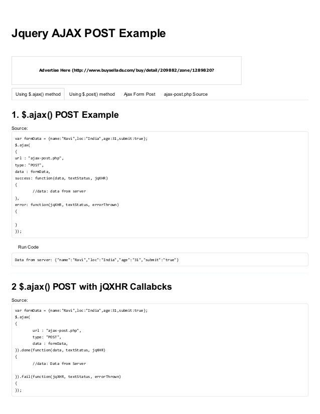 Jquery ajax post example