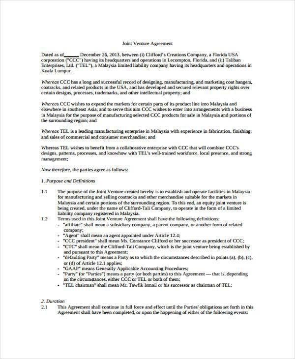 Joint Venture Agreement Sample Word Format Sample Joint Venture 9 – Joint Venture Agreements Sample