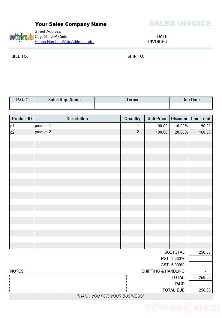 Cash Sales Invoice Sample