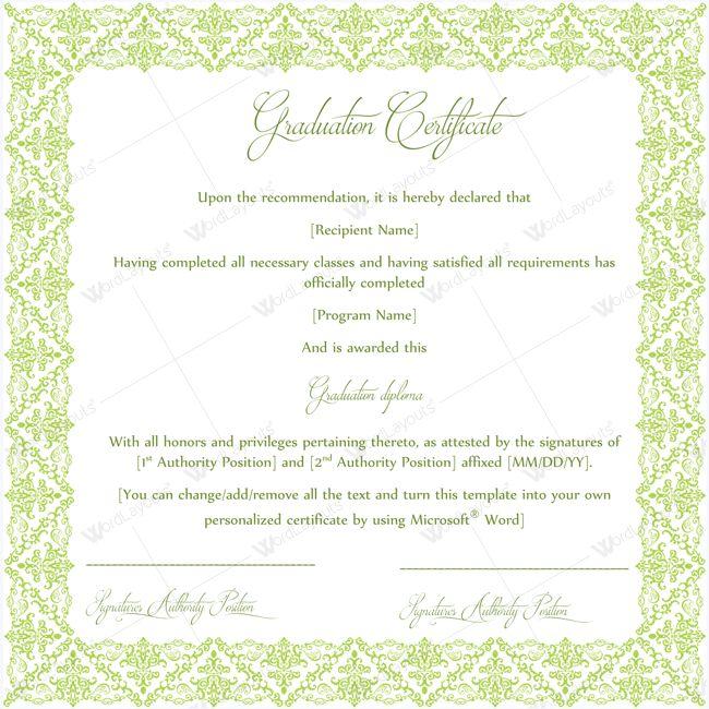 Graduation Certificate Template Word #graduationcertificate ...
