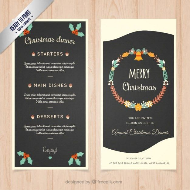 Christmas dinner menu template Vector | Free Download