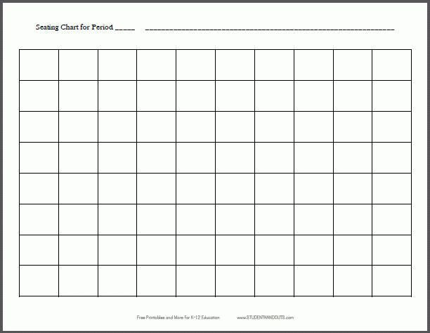 10x8 Horizontal Classroom Seating Chart Template - Free Printable ...