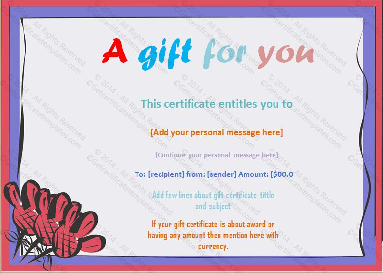 Frame Gift Certificate Template