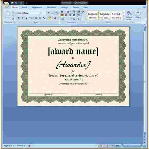 7+ ms word certificate template | Outline Templates