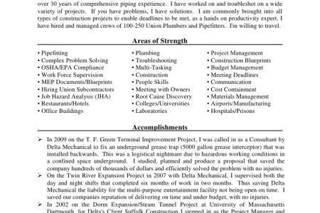 Pipe Foreman Resume Examples - Reentrycorps