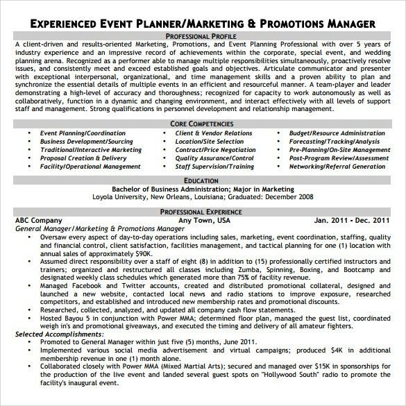 Sample Event Planner Resume - 7+ Documents in PDF, Word