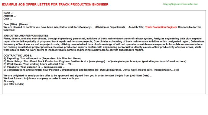 Track Production Engineer Offer Letter