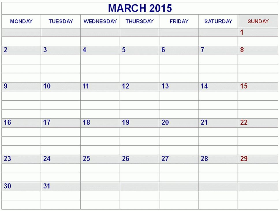 Best Collection of March 2015 Calendar Landscape. Cute March 2015 ...