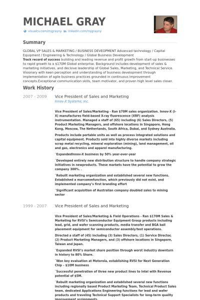 Vice President Of Sales And Marketing Resume samples - VisualCV ...