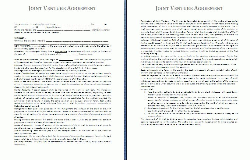 Joint Venture Agreement Template | Free Agreement Templates
