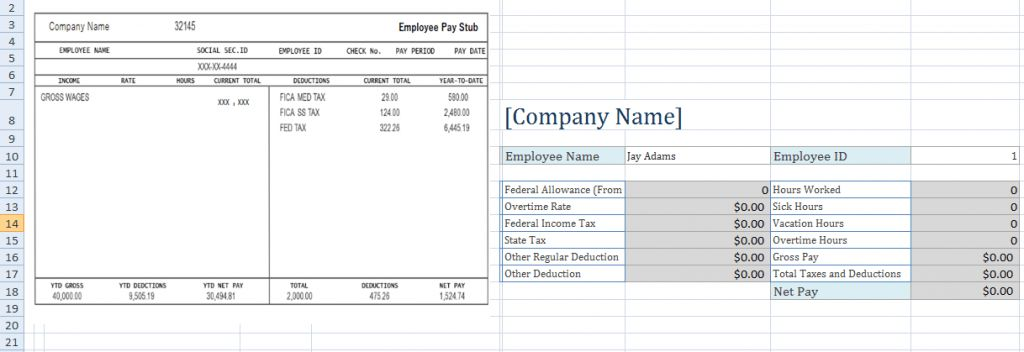Free Employee Pay Stub Excel Template - Microsoft Excel Templates