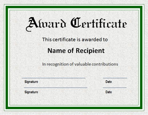 Formal Blank Award Certificate Template Sample with Green Border ...