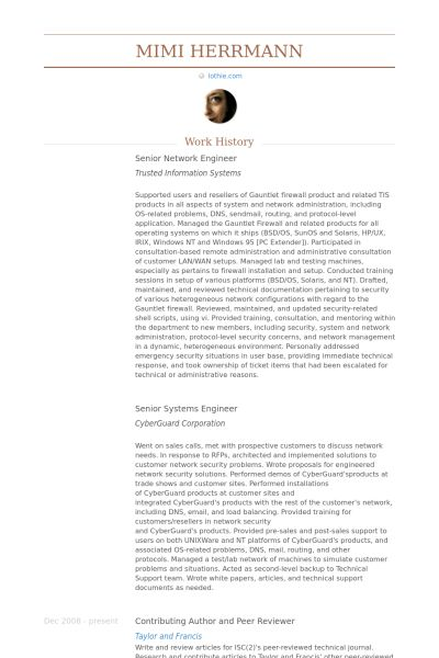Senior Network Engineer Resume samples - VisualCV resume samples ...