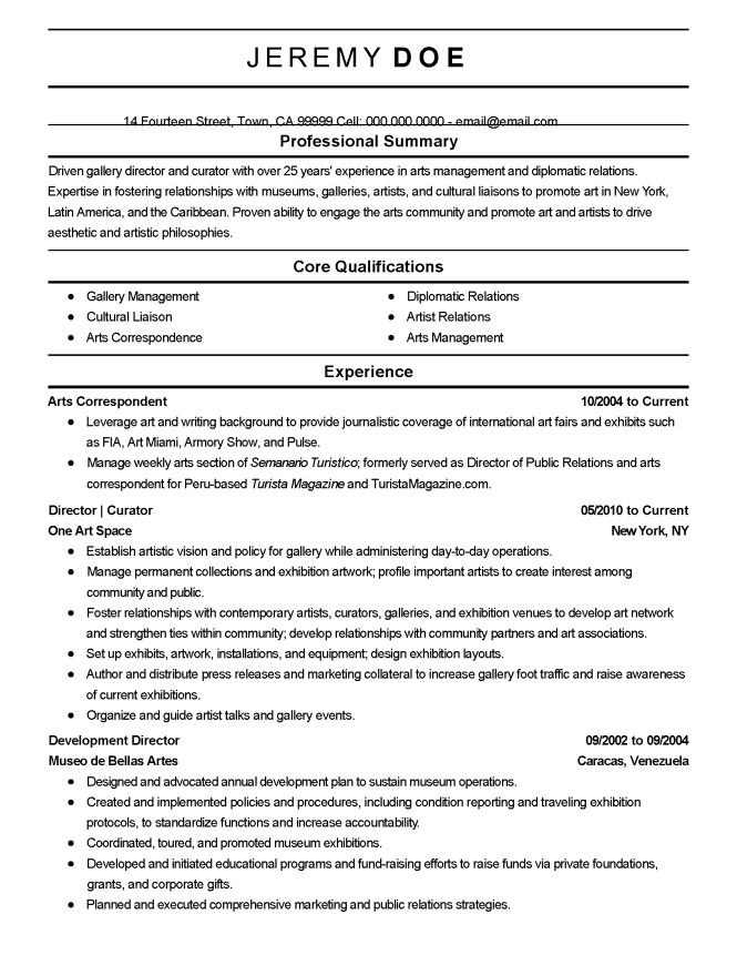 Performing Arts Resume Template - Resume Sample