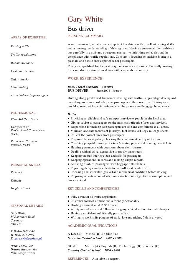 sample resume as bus driver. sample driver resume chic design ...