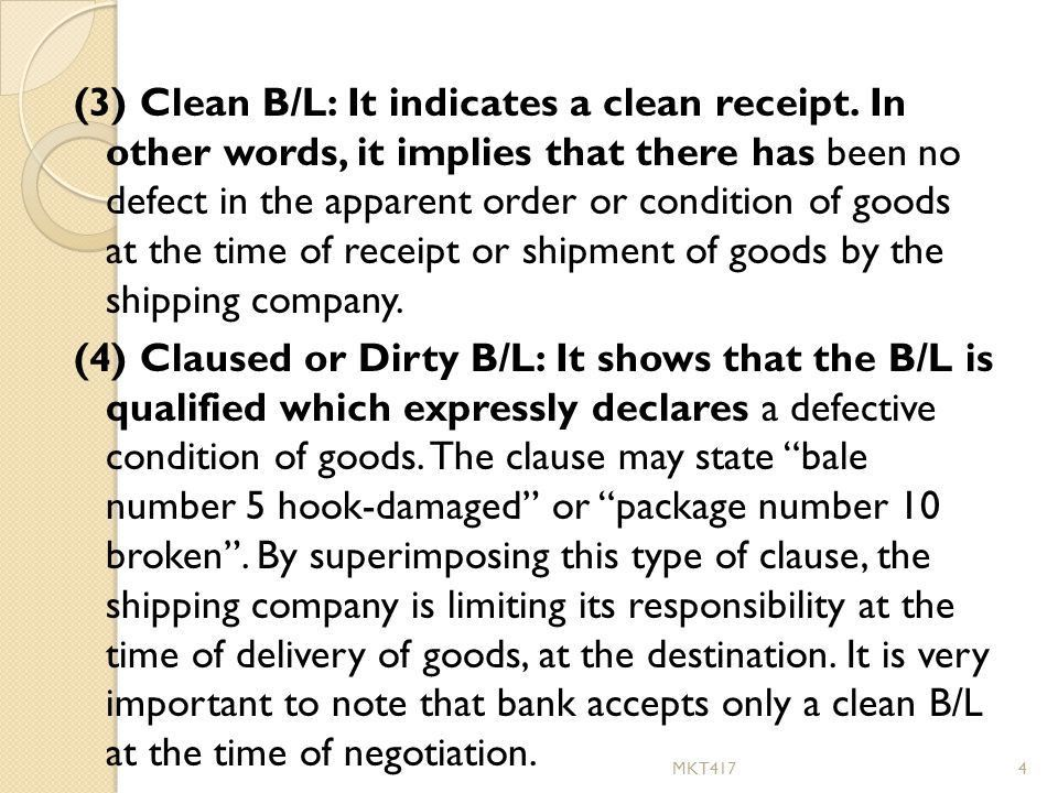 v) Bill of Lading Bill of Lading is a document issued by the ...