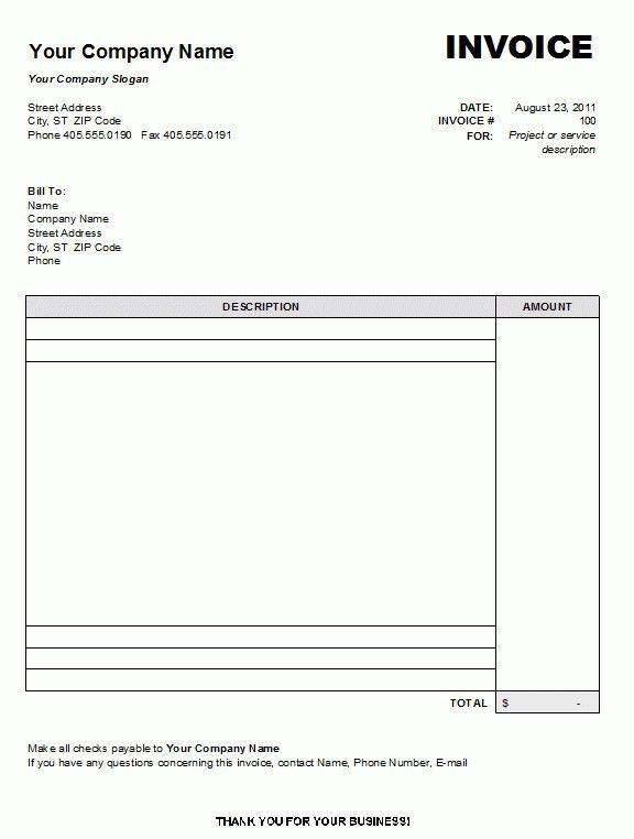 7+ printable invoice template microsoft word | Invoice Term