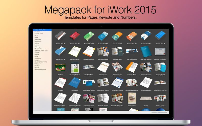 Megapack for iWork 2015: Keynote Numbers Pages Templates on the ...