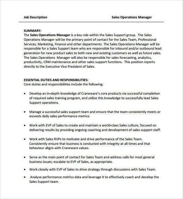 Sample Job Description Template - 9+ Free Documents Download in ...