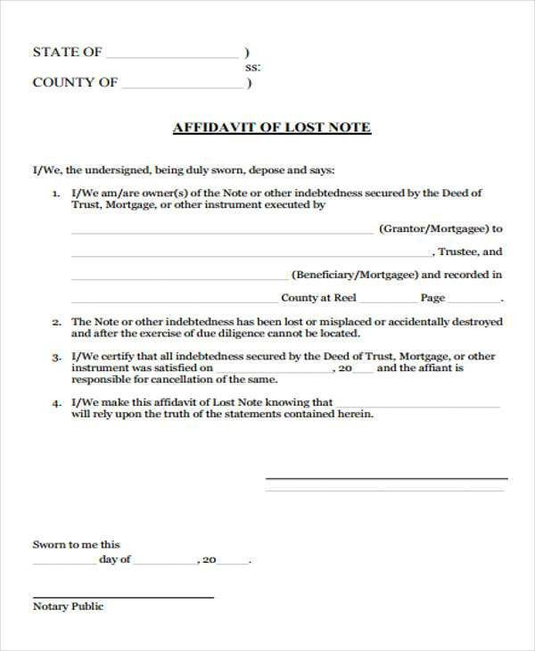 Affidavit Of Loss Template [Template.billybullock.us ]