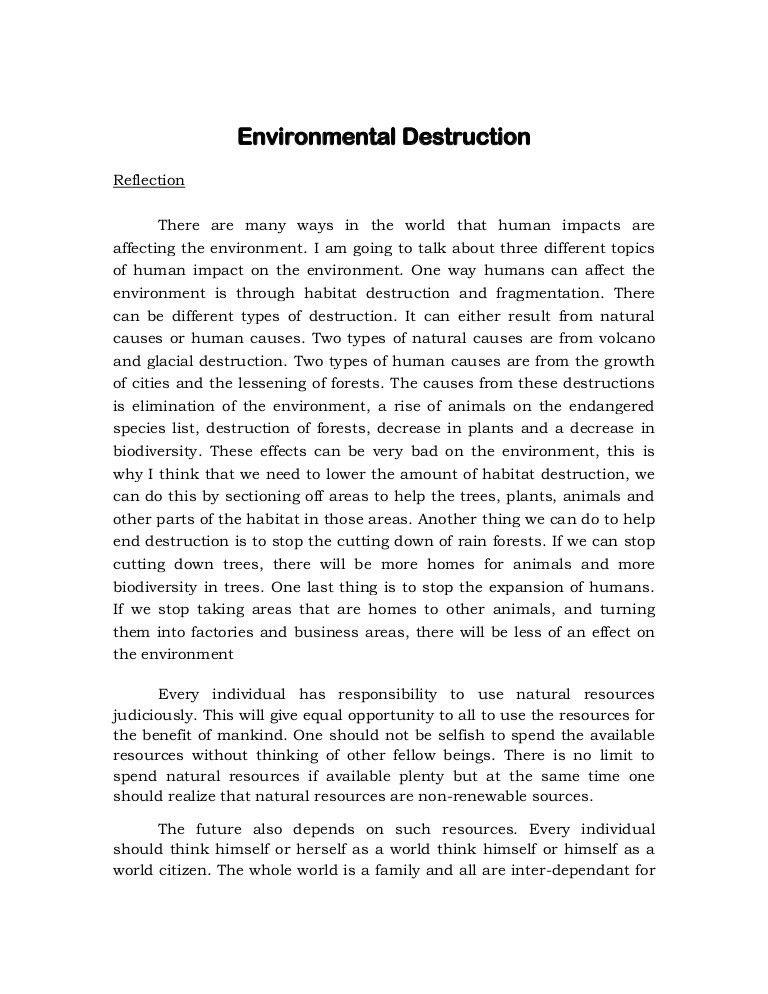 Reflection about Environmental Destruction