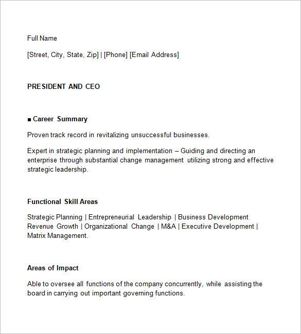 CEO Resume Template – 11+ Free Samples, Examples, Format Download ...