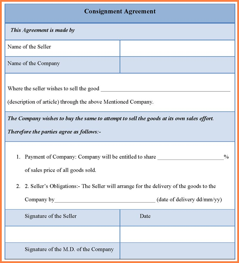 consignment agreement template - Sales Report Template