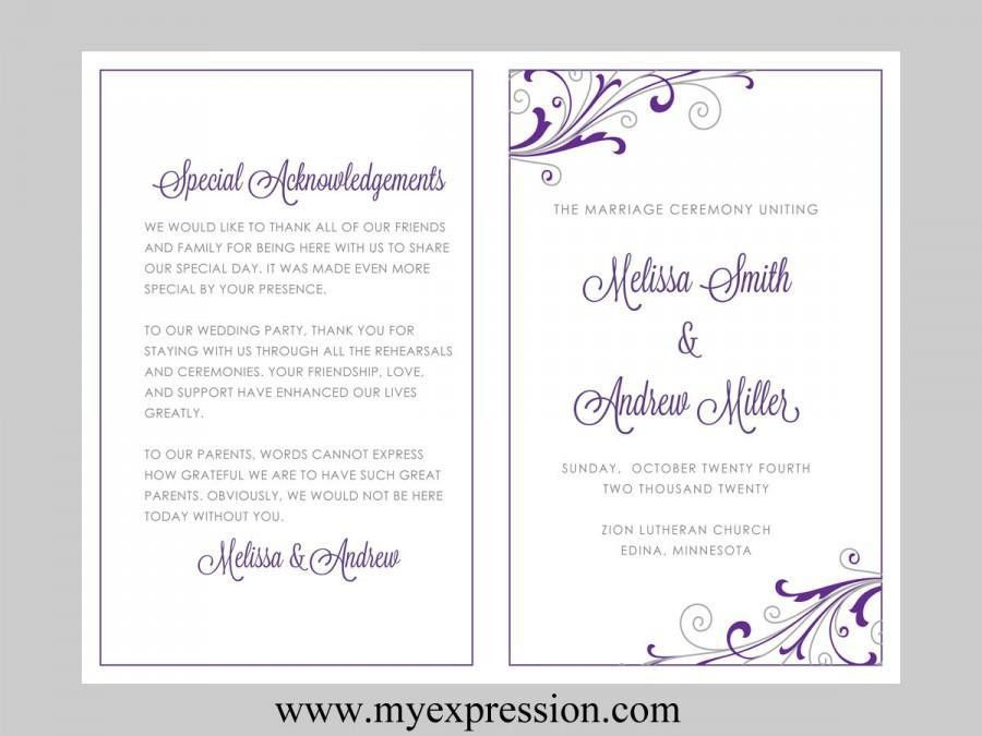 Wedding Program Template – Swirl And Flourish (Purple & Silver ...