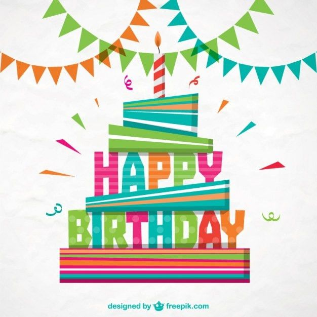 Colorful happy birthday card Vector | Free Download