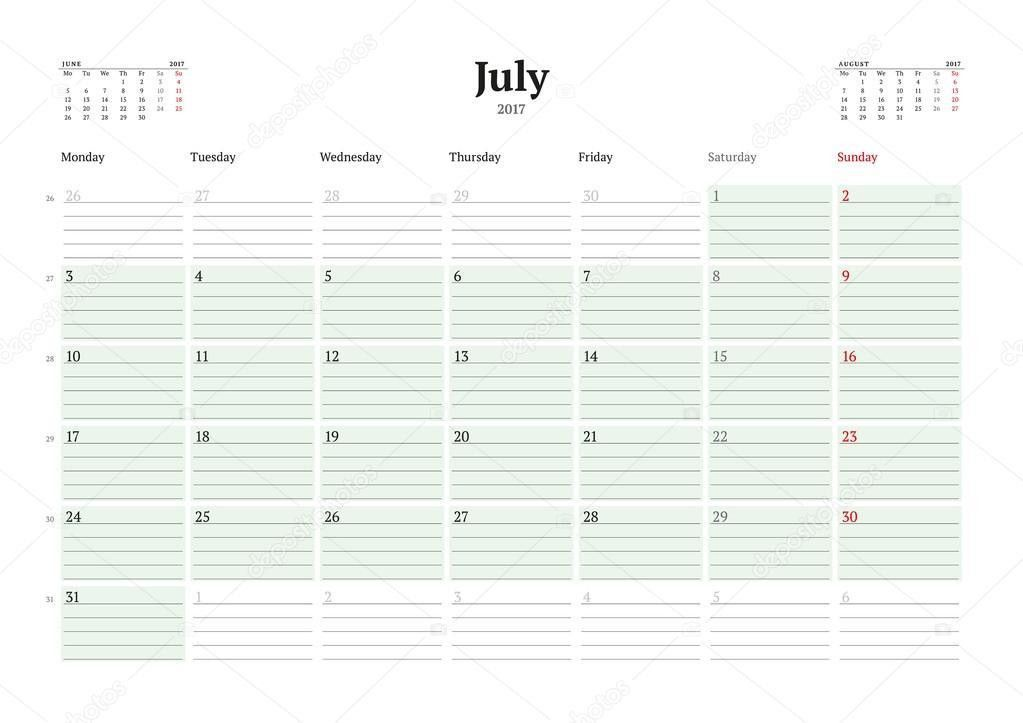 Calendar Template for 2017 Year. July. Business Planner 2017 ...