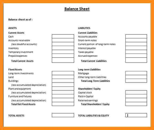 8+ Blank Balance Sheet Form | Resume Setups  Blank Balance Sheet Form