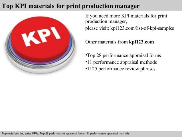 Print production manager kpi