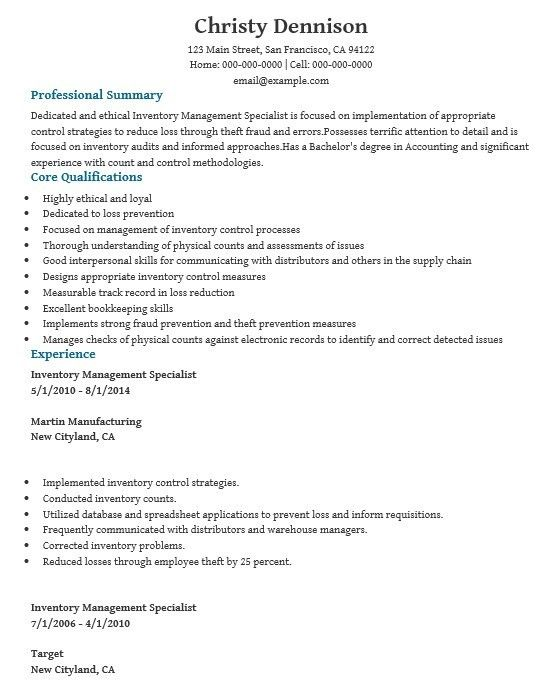 Inventory Skills Resume. resume のおすすめ画像 64 件 pinterest ...