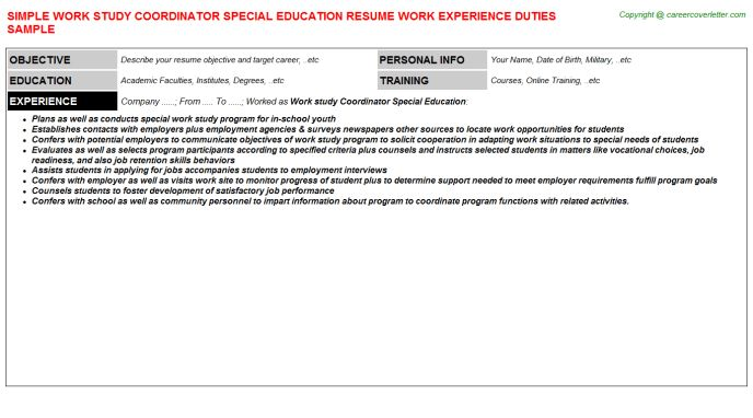Work Study Coordinator Special Education Job Title Docs