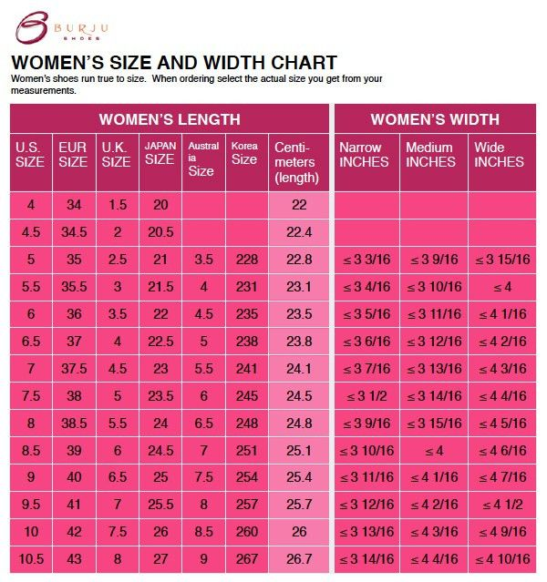 Dance Shoe Size, Width, Heel, & Ankle Strap Charts To Help Get The ...