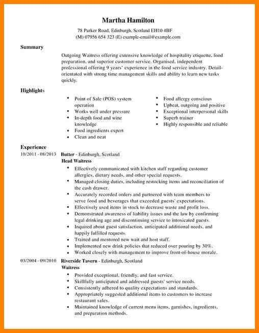 waitress resume sample. waitress resumeexamplessamples free edit ...