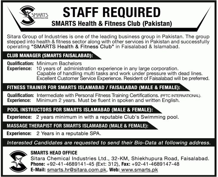 Club Manager Job in Smarts Health Fitness Club, Fitness Trainer ...