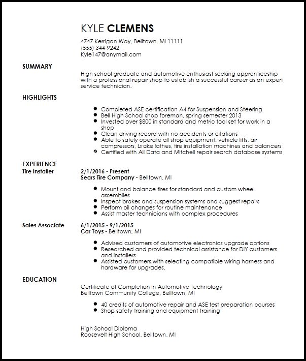 Free Entry Level Mechanic Resume Template | ResumeNow