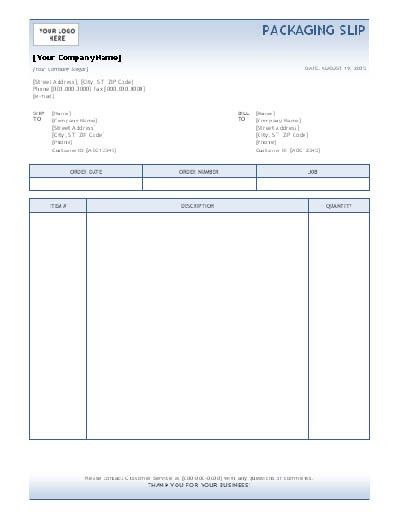 Free Packing Slip Template with Blue Gradient Background and Blue ...