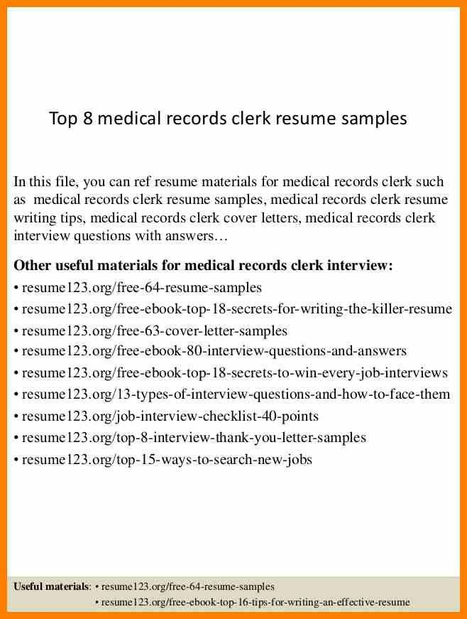 records clerk resume template college medical records resume ...