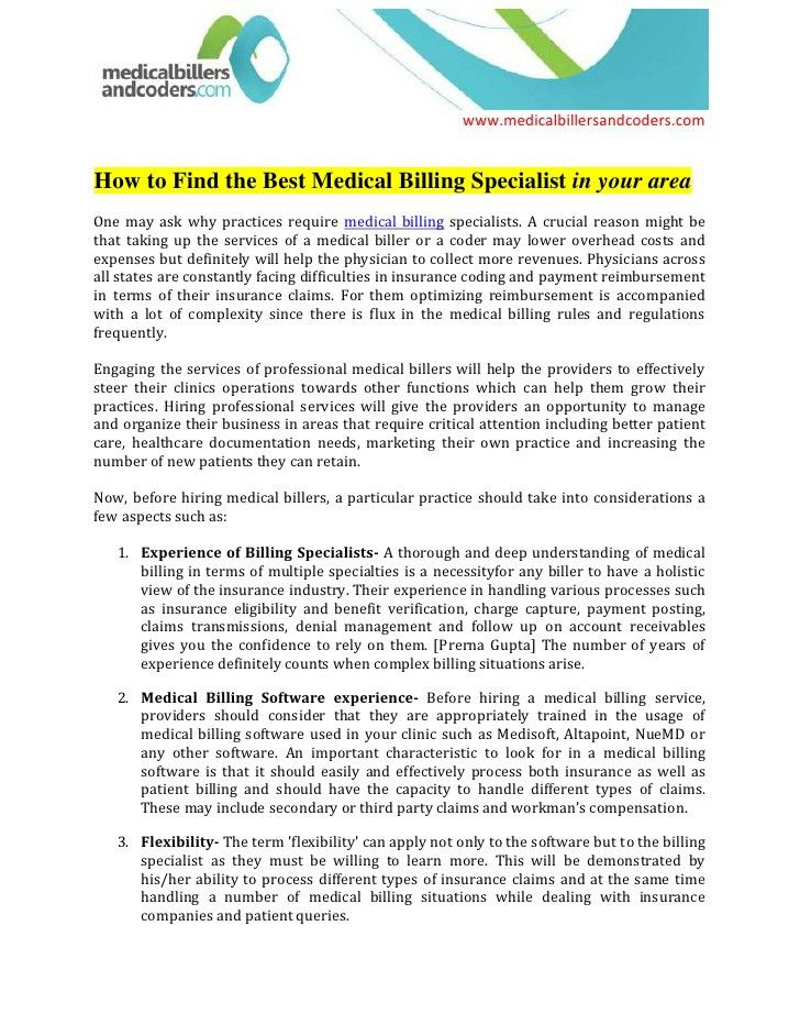 professional medical claims and billing specialist templates to ...