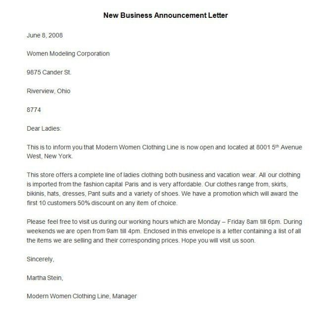 New Business Announcement Letter | The Letter Sample