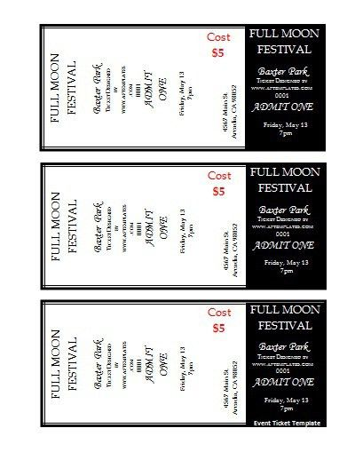 Epic Admission Ticket Template Sample for Full Moon Festival with ...