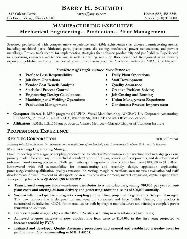 Effective Resume Sample for Mechanical Engineering for Job ...